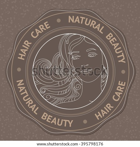 SPA theme vector illustration with face, hair and text Hair Care Natural Beauty. Badge template. - stock vector