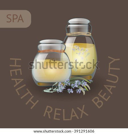 SPA theme vector illustration with two jars and lavender. Badge template with text Health  Relax  Beauty. - stock vector