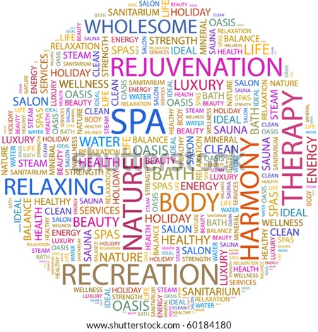SPA. Word collage on white background. Illustration with different association terms.