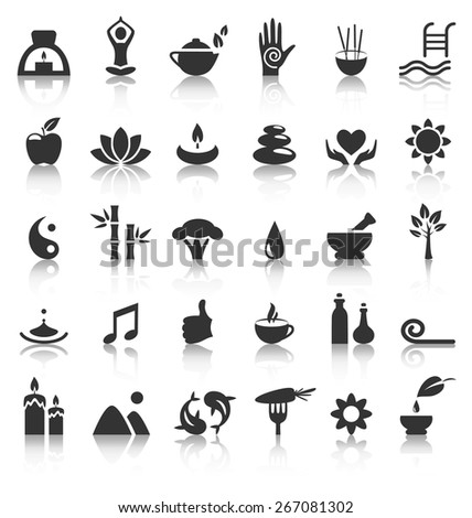 Spa yoga zen flat icons with reflection on white background - stock vector