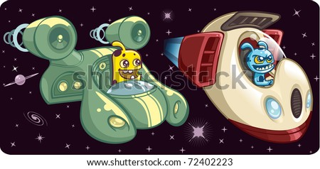 Space Aliens in Space Ships - stock vector