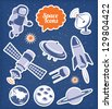 Space ana spaceship icons set - stock photo