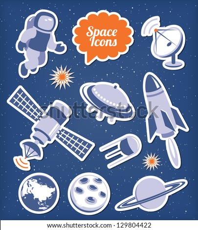 Space ana spaceship icons set - stock vector