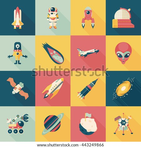 space and alien icons set