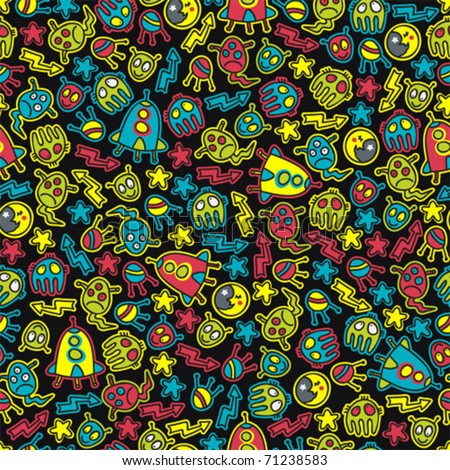 Space and aliens seamless pattern. Vector doodle illustration. - stock vector