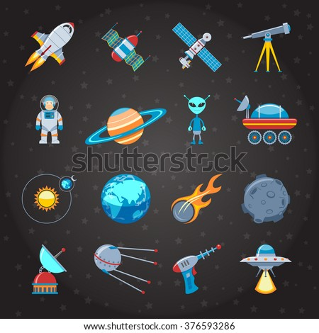 Space And Astronautics Colorful Flat Icons Set