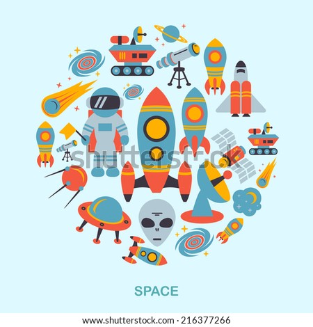 Space and astronomy icons flat set of rocket satellite earth alien vector illustration - stock vector