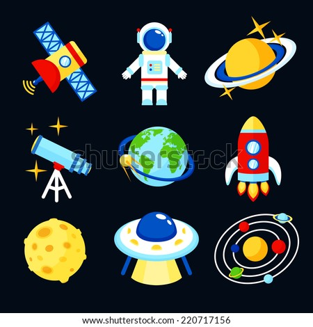 Space and astronomy icons set of earth rocket moon astronaut isolated vector illustration - stock vector