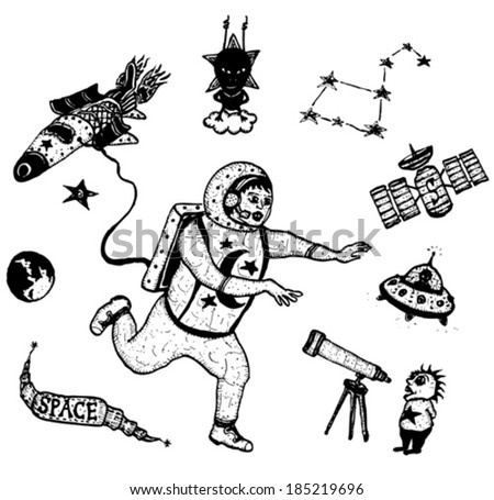 Space And Astronomy Set/ Illustration of a set of doodle hand drawn astronomy icons, with spaceman character, rocket ship, aliens and space exploration elements - stock vector