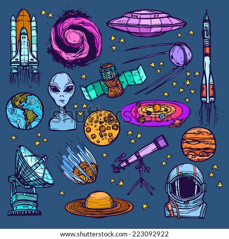 Space and astronomy sketch colored decorative icons set of satellite alien planets isolated vector illustration - stock vector