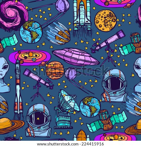 Space and astronomy sketch colored seamless pattern with meteorite astronaut radar vector illustration - stock vector