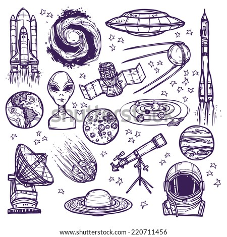 Space and astronomy sketch decorative icons set of telescope alien planets isolated vector illustration - stock vector