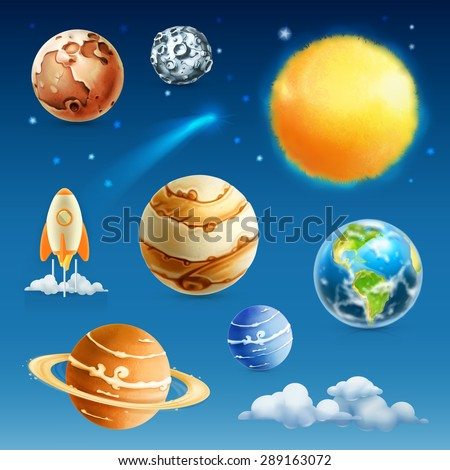 Space and planet, vector icon set - stock vector