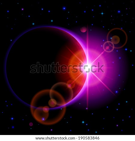 Space background. Dark planet with purple radiance and bright flare among stars and other planets