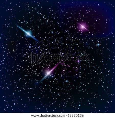 Space background,planet and bright stars in cosmos.  EPS10 vector illustration - stock vector