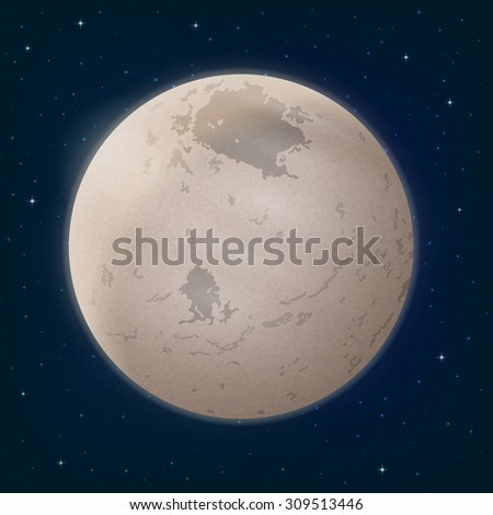 Space Background, Realistic Charon, Moon of Dwarf Planet Pluto and Stars. Elements of This Image Furnished by NASA, Solarsystem.Nasa.Gov. Eps10, Contains Transparencies. Vector - stock vector