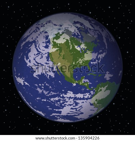 Space background, realistic planet mother Earth and stars. Thanks to NASA for the image (www.visibleearth.nasa.gov). Eps10, contains transparencies. Vector - stock vector