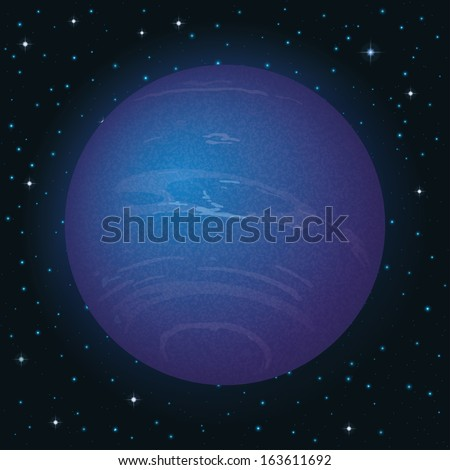 Space background, realistic planet Neptune and stars. Elements of this image furnished by NASA Eps10, contains transparencies. Vector - stock vector