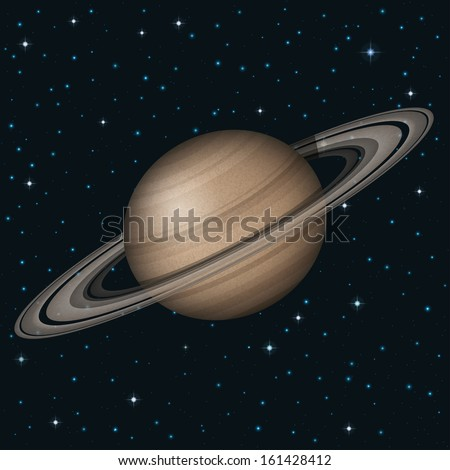 Space background, realistic planet Saturn and stars. Elements of this image furnished by NASA (http://solarsystem.nasa.gov). Eps10, contains transparencies. Vector - stock vector