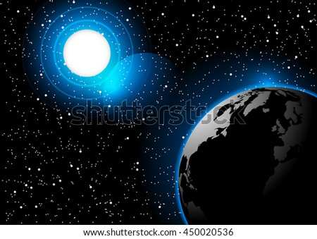 Space background sun and earth vector illustration Elements of this image furnished by NASA - stock vector