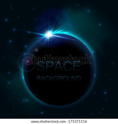 Space background with blue light - stock vector