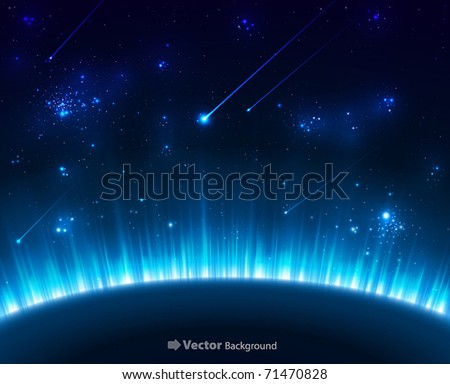 Space background with blue light from behind of the planet - stock vector