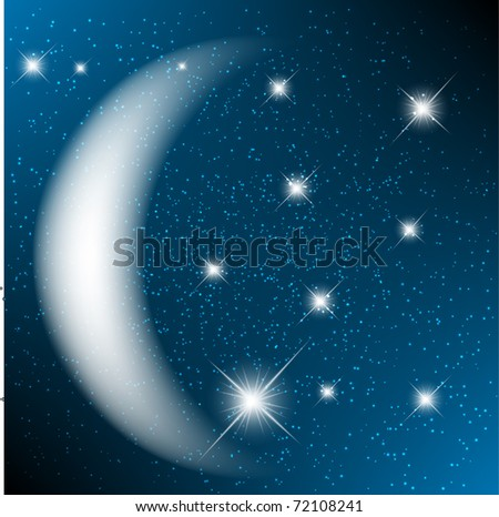 Space background with bright stars and moon. - stock vector