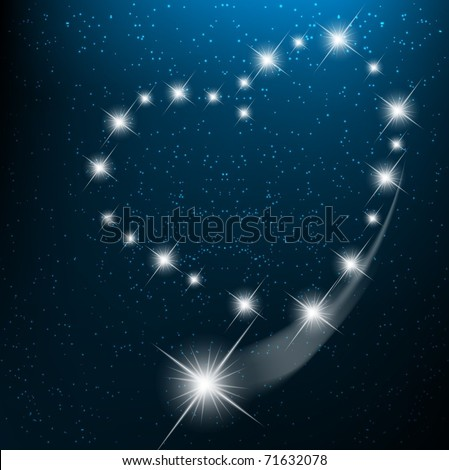 Space background with heart from bright stars in cosmos. EPS10 vector illustration - stock vector