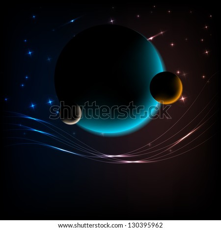 Space Background with 3 planets, glow lines and space for text