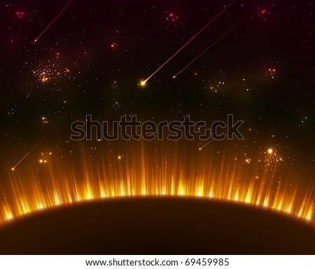 Space background with yellow sun rays - stock vector