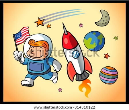 space boy and universe 2 - stock vector
