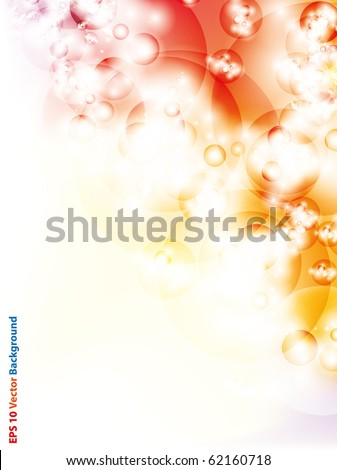 Space bubbles glowing in yellow and red abstract background - stock vector
