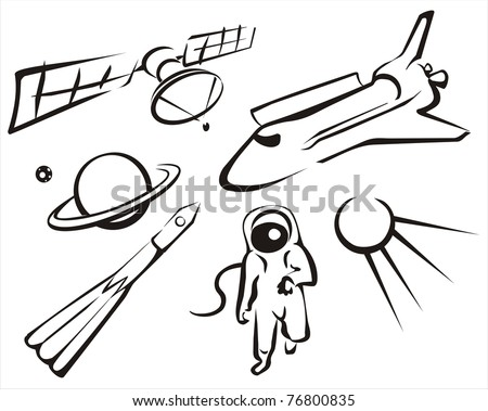 space concept set of sketch illustration in simple black lines - stock vector