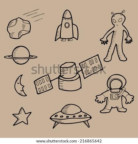 Space doodle stuffs cartoon vector - stock vector