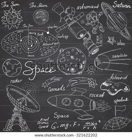 Space doodles icons set. Hand drawn sketch with Solar system, planets meteors and comets, Sun and Moon, radar, astronaut rocket and stars. vector illustration on chalkboard background. - stock vector