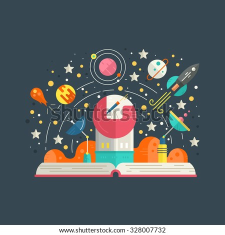Space exploration concept - open book with solar system elements, including rocket, meteor, planets, stars. Imagination concept made in flat style vector. - stock vector