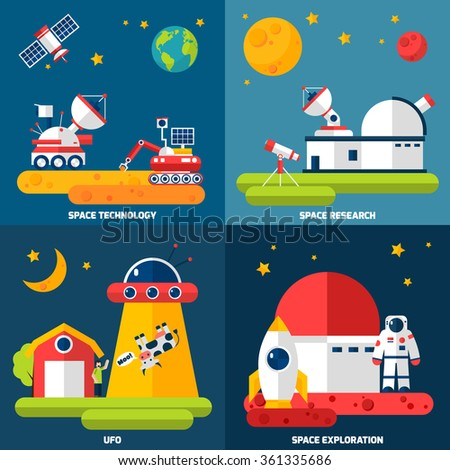 Space exploration 4 flat icons composition with observatory telescope and rover research technology abstract isolated vector illustration - stock vector