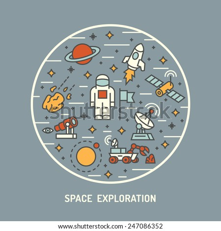 Space exploration. Vector illustration. - stock vector
