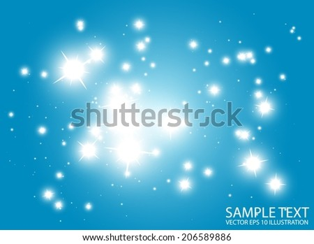 Space flares decorative vector template - Shiny blue glittering vector background illustration - stock vector