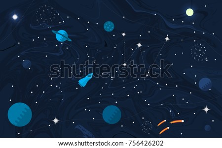 Space Flat Background With Planets And Stars Vector Illustration