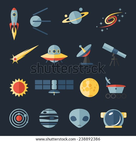 Space flat icons set of rocket ufo galaxy and planet vector illustration