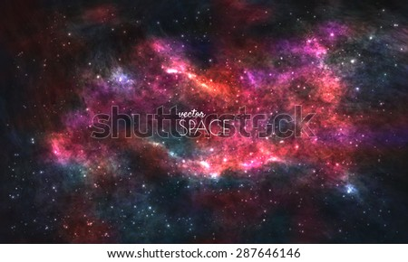 Space Galaxy Background with nebula, stardust and bright shining stars. Vector illustration for your design, artworks - stock vector