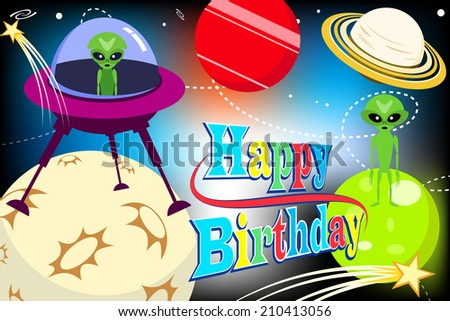 space happy birthday card design