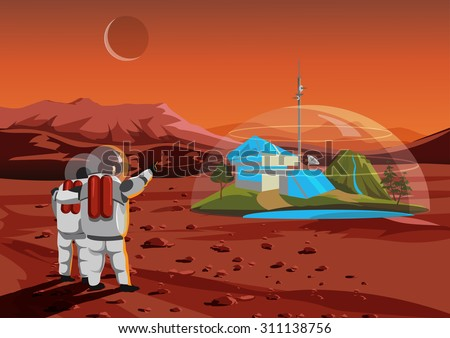 Space home on Mars. The base humans in space - stock vector