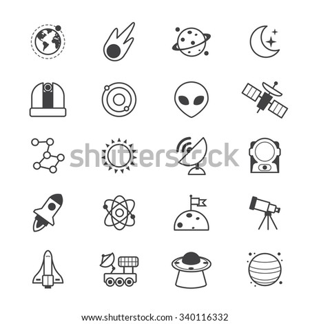 Space Icons Line - stock vector