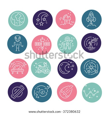 Space icons made in modern line style vector isolated on background and easy to use. Clean and simple vector space symbols.Galaxy elements - planets, sun, asteroids, meteorits, cosmonaut, alien, ufo.  - stock vector