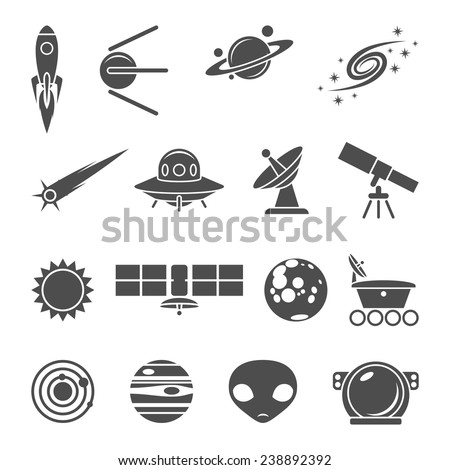 Space icons set of rocket ufo galaxy and planet vector illustration - stock vector