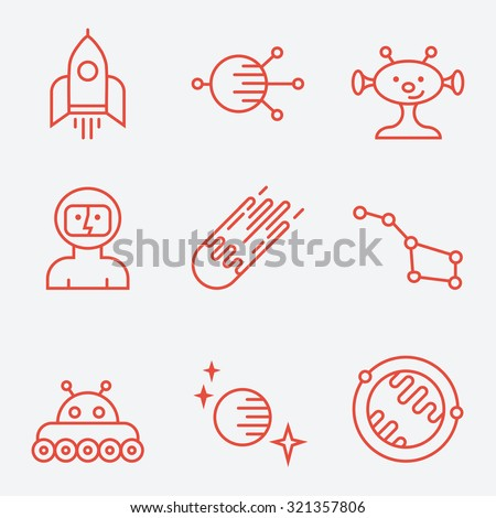 Space icons, thin line style, flat design - stock vector