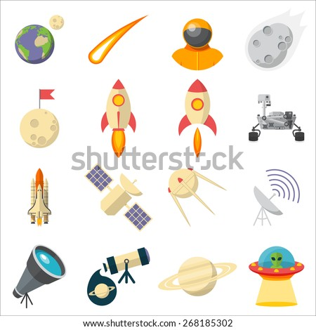 Space, Illustration series, Flat style, isolated on white background
