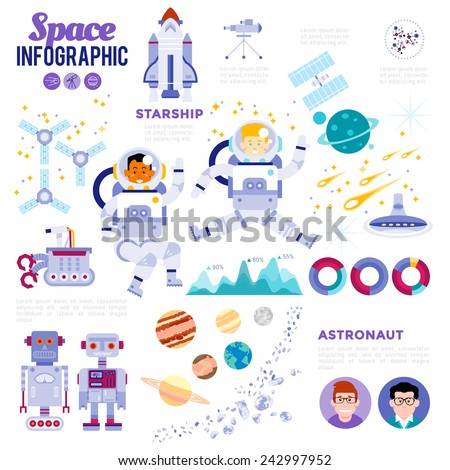 Space Infographic. With flat icons of satellites planets meteor rocket star ship and characters of astronaut with suggestions of interstellar space exploration. Modern Flat Vector Design Illustration. - stock vector